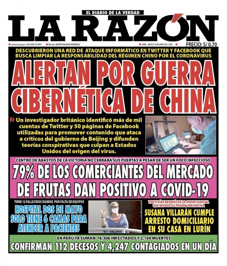 Portada impresa – Diario La Razón (14/05/2020)