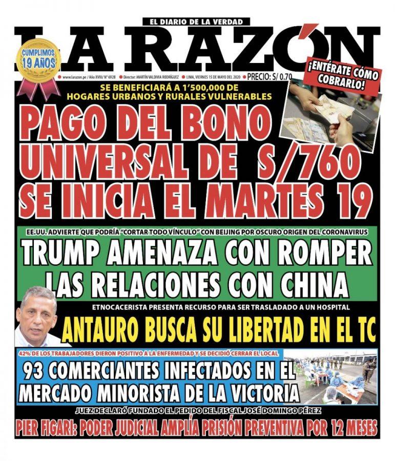 Portada impresa – Diario La Razón (15/05/2020)