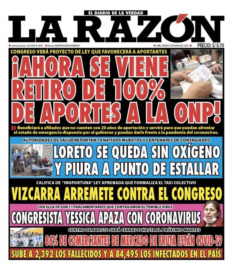 Portada impresa – Diario La Razón (16/05/2020)