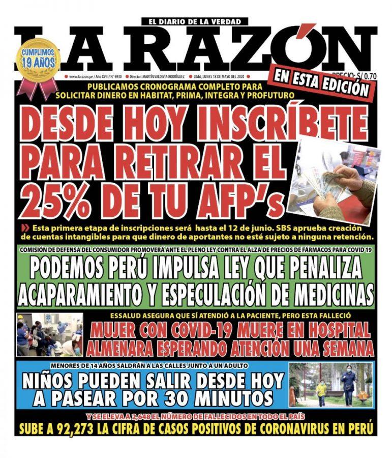 Portada impresa – Diario La Razón (18/05/2020)