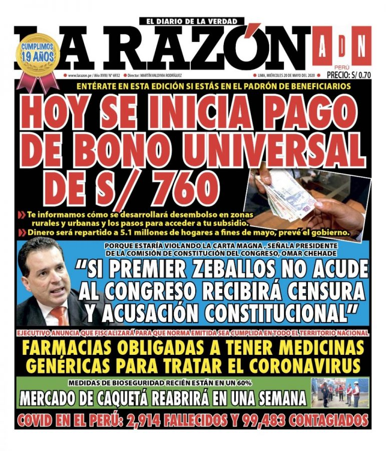 Portada impresa – Diario La Razón (20/05/2020)