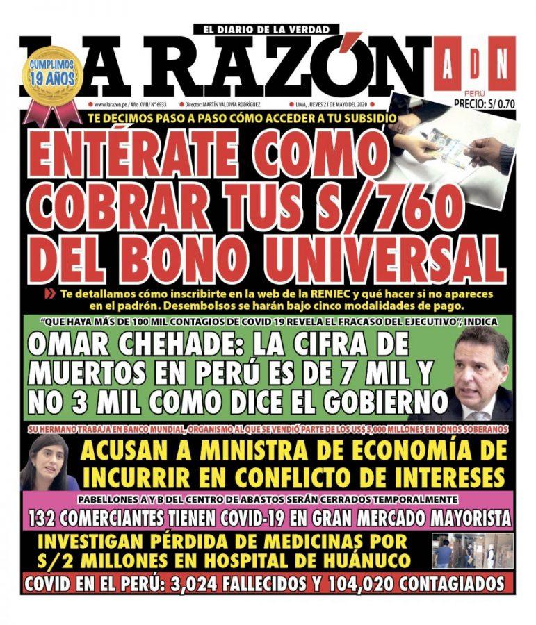Portada impresa – Diario La Razón (21/05/2020)