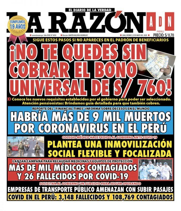 Portada impresa – Diario La Razón (22/05/2020)