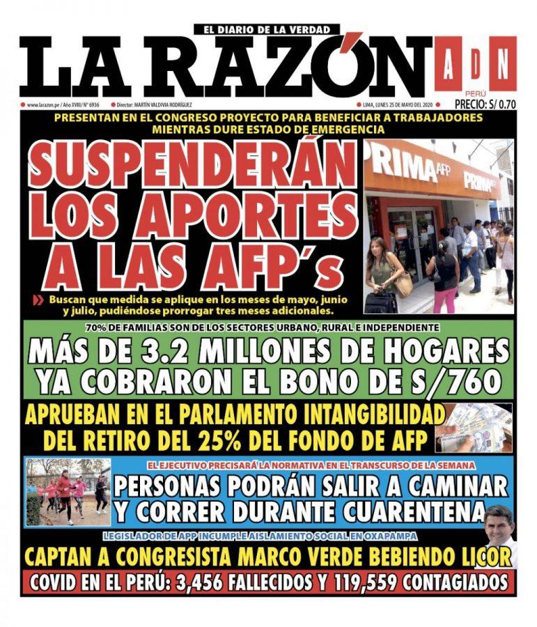 Portada impresa – Diario La Razón (25/05/2020)