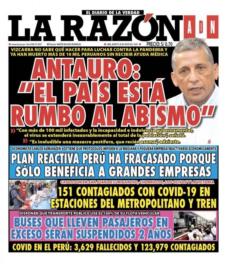Portada impresa – Diario La Razón (26/05/2020)