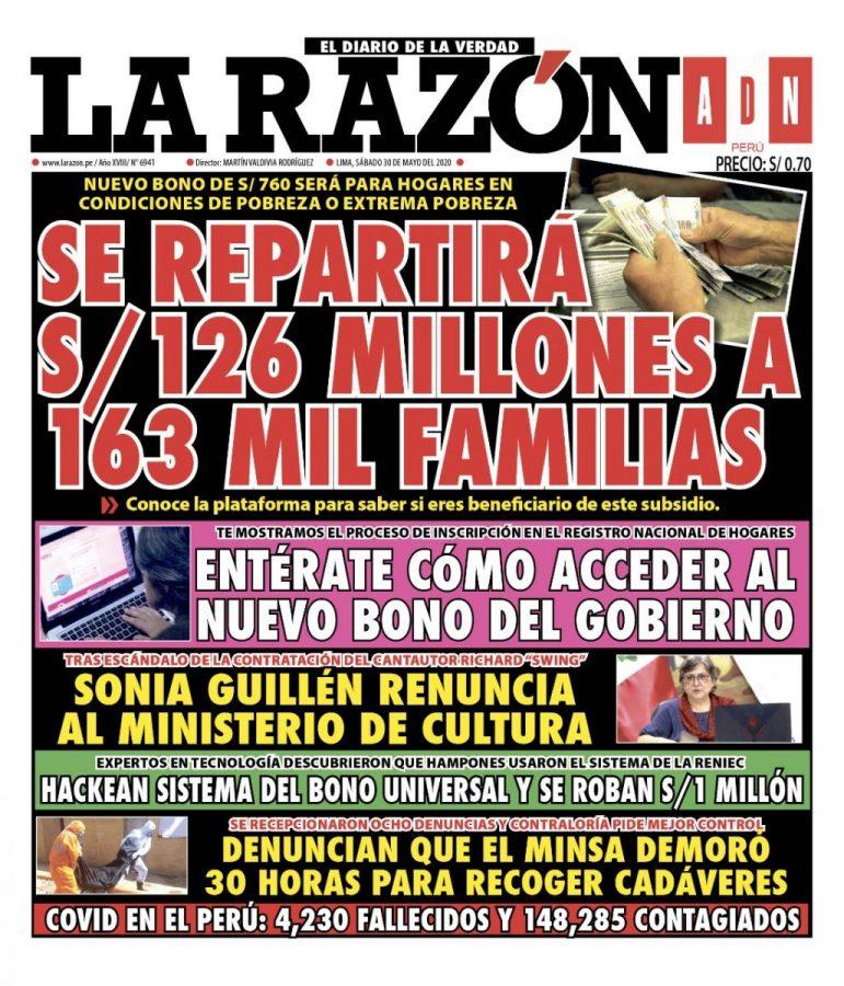 Portada impresa – Diario La Razón (30/05/2020)