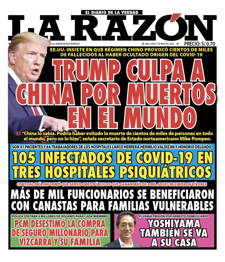 Portada impresa – Diario La Razón (07/05/2020)