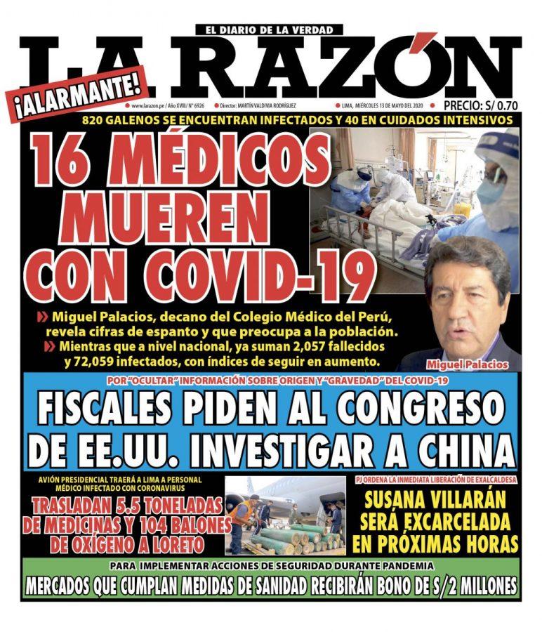 Portada impresa – Diario La Razón (13/05/2020)
