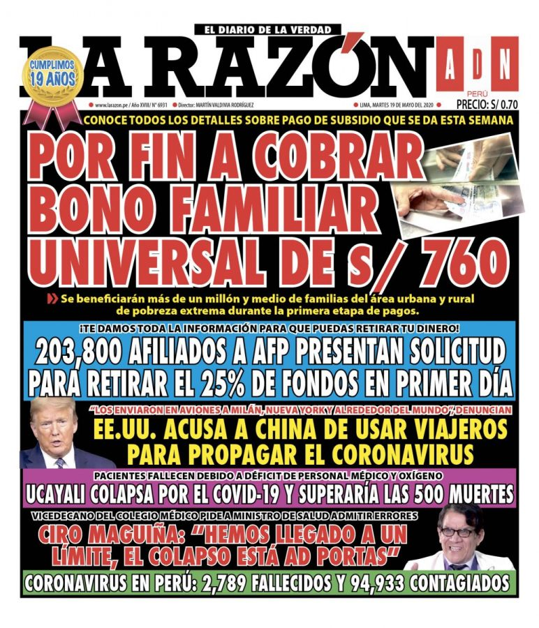 Portada impresa – Diario La Razón (19/05/2020)