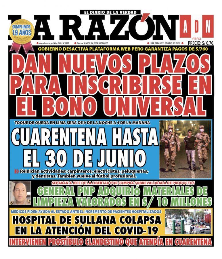 Portada impresa – Diario La Razón (23/05/2020)