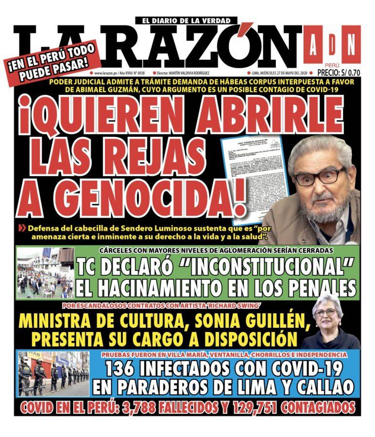 Portada impresa – Diario La Razón (27/05/2020)