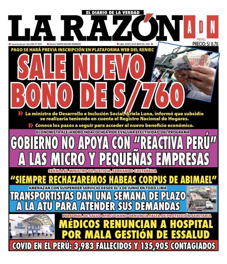Portada impresa – Diario La Razón (28/05/2020)
