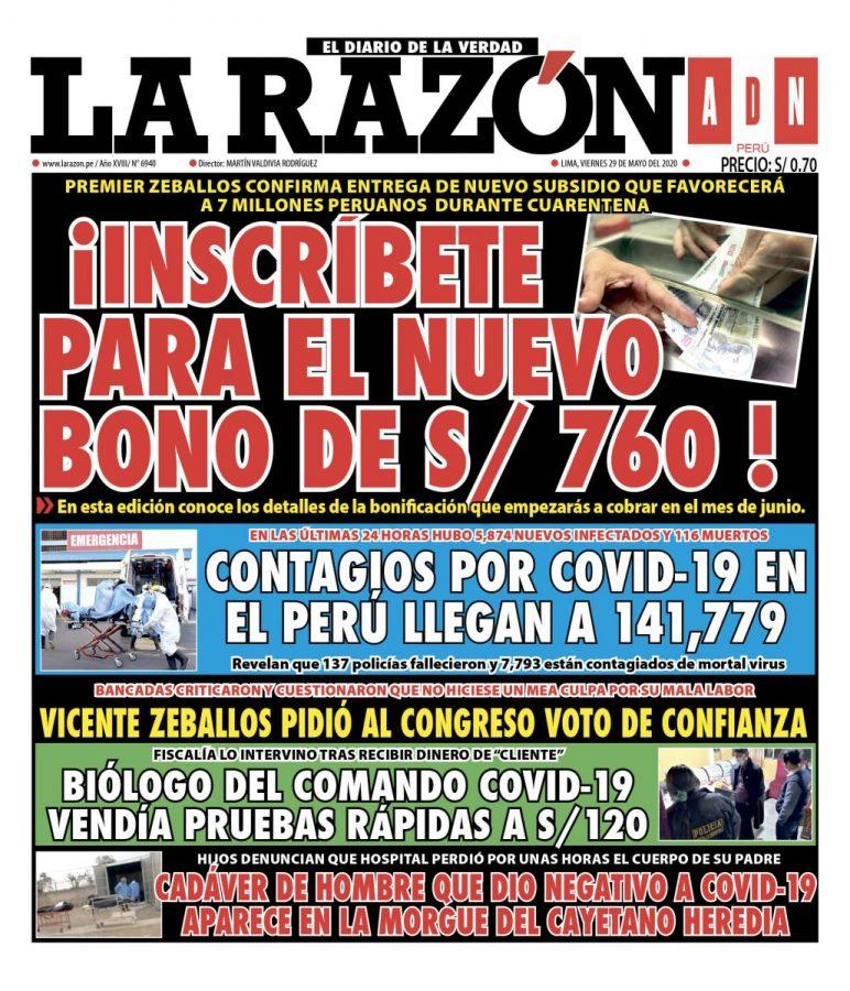 Portada impresa – Diario La Razón (29/05/2020)