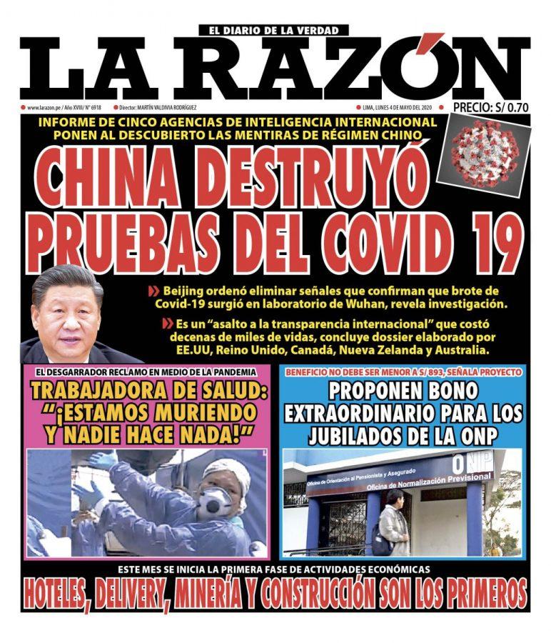 Portada impresa – Diario La Razón (04/05/2020)
