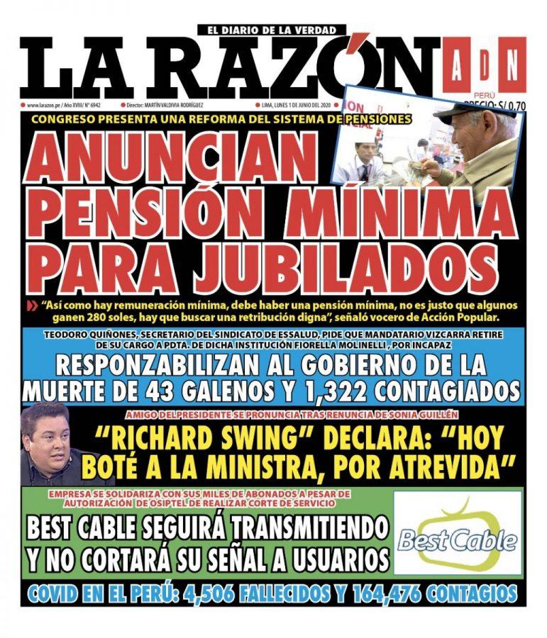 Portada impresa – Diario La Razón (1/06/2020)