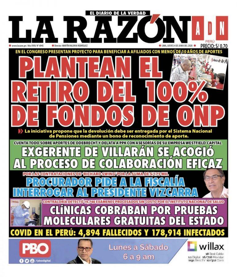 Portada impresa – Diario La Razón (04/06/2020)