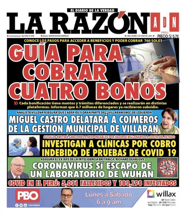 Portada impresa – Diario La Razón (05/06/2020)