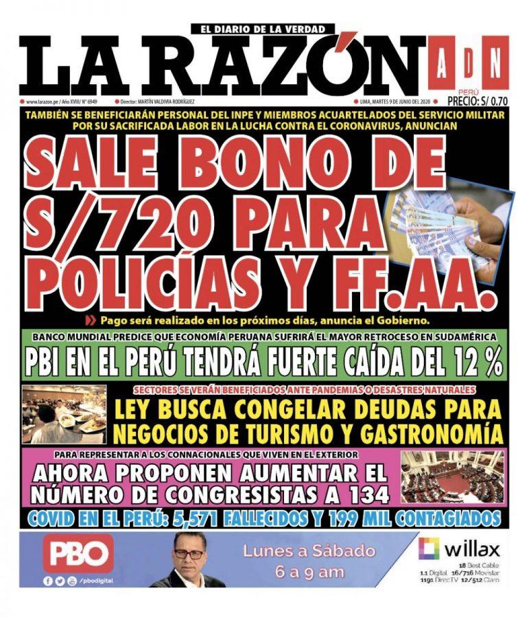 Portada impresa – Diario La Razón (09/06/2020)