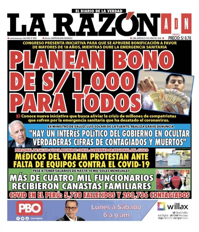 Portada impresa – Diario La Razón (10/06/2020)