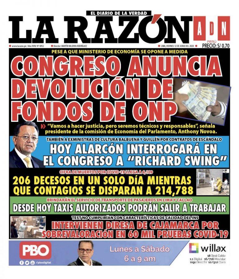 Portada impresa – Diario La Razón (12/06/2020)