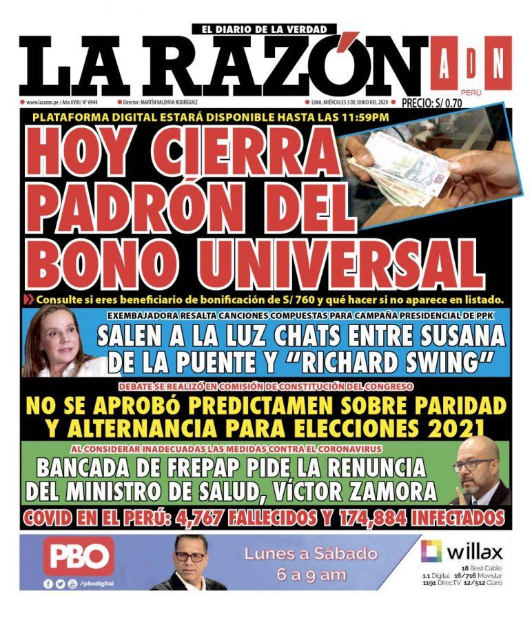 Portada impresa – Diario La Razón (03/06/2020)