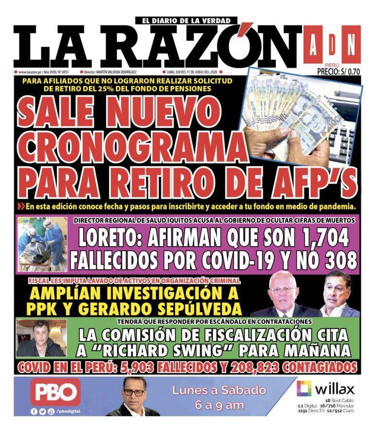 Portada impresa – Diario La Razón (11/06/2020)