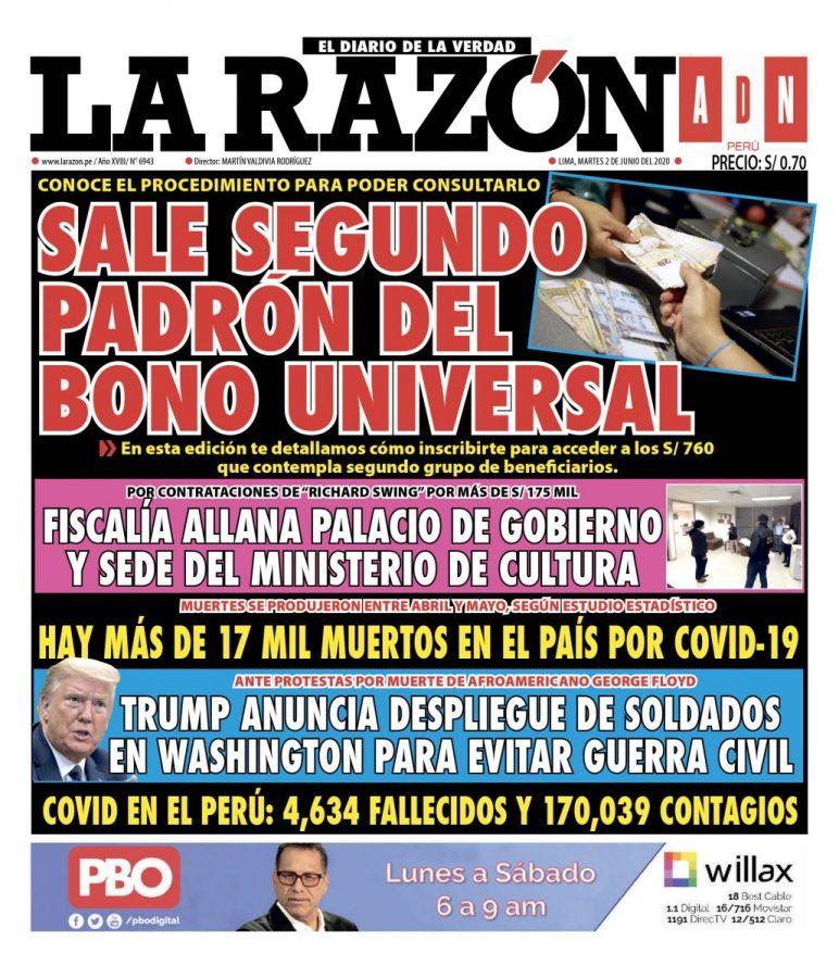 Portada impresa – Diario La Razón (2/06/2020)