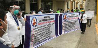 Protesta de trabajadores de salud