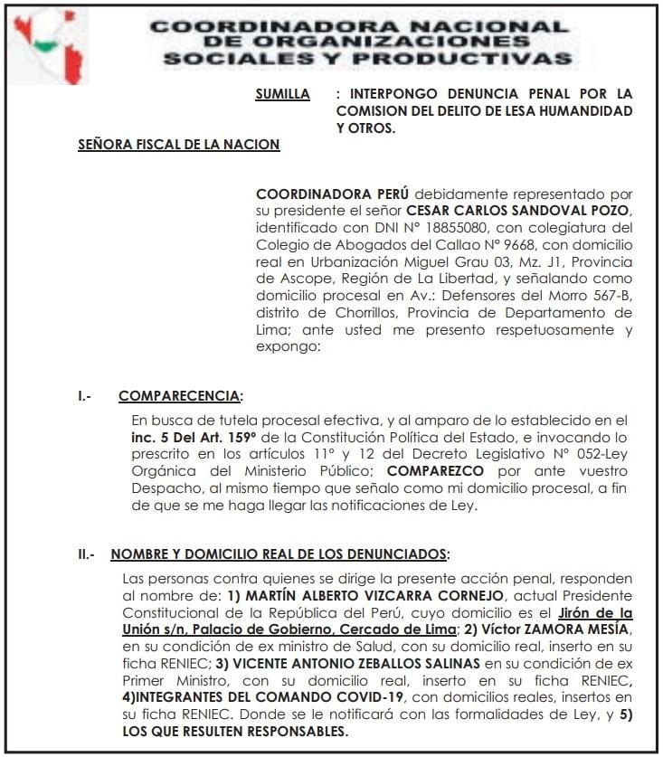 Denuncian penalmente a Vizcarra y a ex ministros Zamora y Zeballos