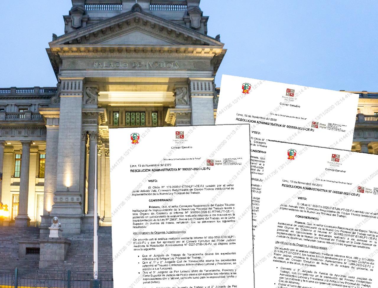 Poder Judicial implementará Nueva Ley Procesal de Trabajo en cortes de Huaura, Apurímac y Pasco