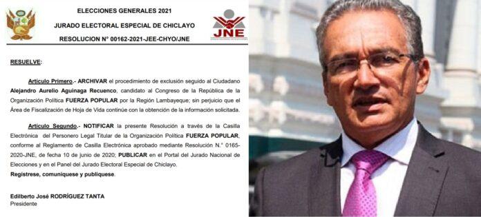 Alejandro Aguinaga: Jurado Electoral archiva exclusión