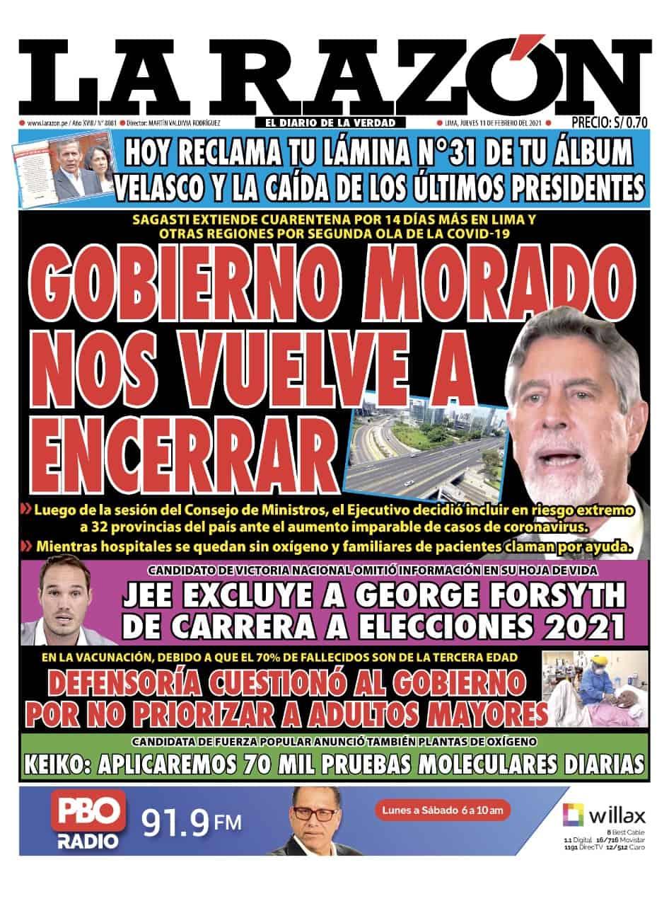 Portada impresa – Diario La Razón (11 /02/2021)