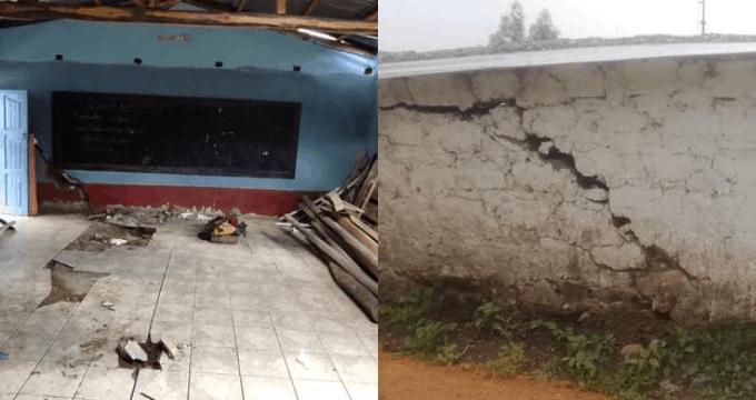 Áncash: Fuerte lluvias provocaron rajaduras en los pisos y paredes de un colegio