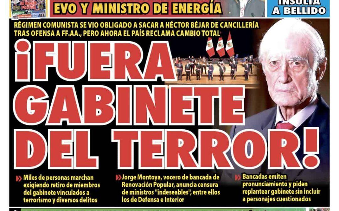 Portada impresa – Diario La Razón (18/08/2021)