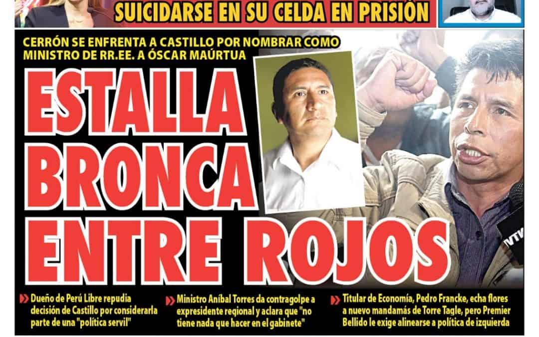 Portada impresa – Diario La Razón (22/08/2021)
