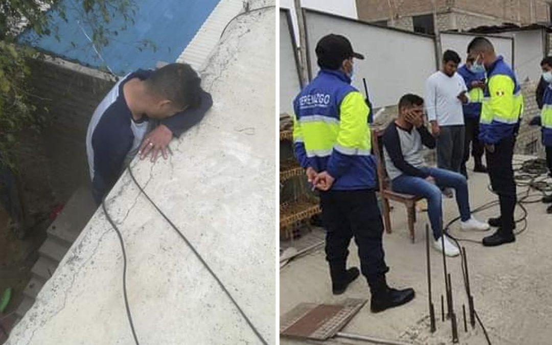Sujeto queda atrapado en tragaluz por presunto intento de robo