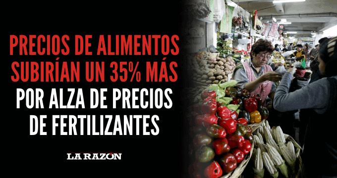 Precios de alimentos subirían un 35% más por alza de precios de fertilizantes