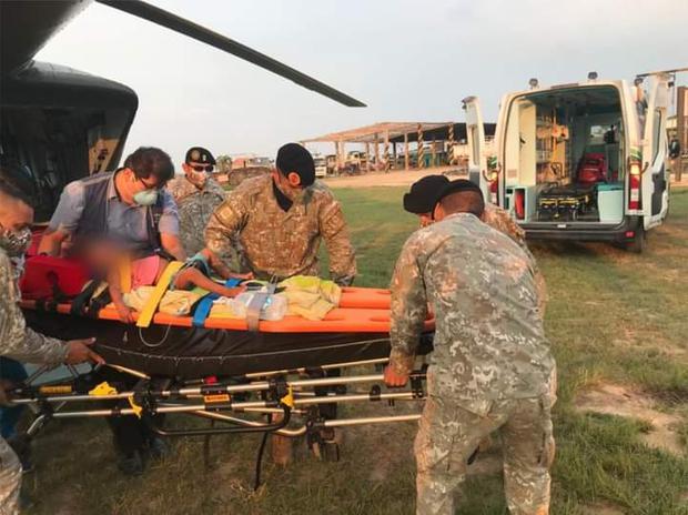 Ejército apoyó en el traslado de cuatros niños nativos con neumonía grave
