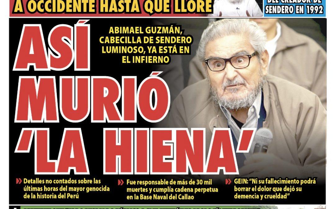 Portada impresa – Diario La Razón (12/09/2021)
