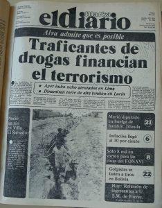 Portada del desaparecido El Diario, órgano de Sendero luminoso, por el que difundieron que la Marina tenía en su poder a Mezzich.