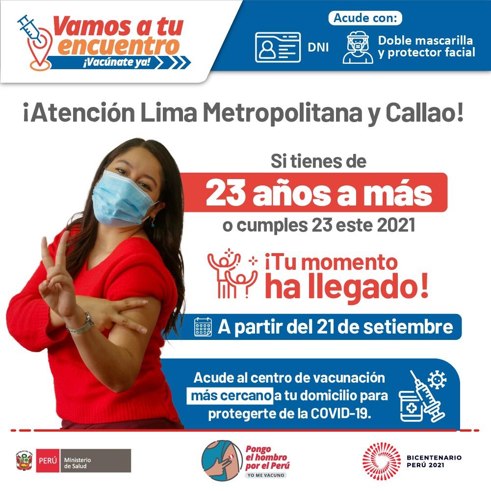 COVID-19: Desde mañana comienza vacunación de 23 a 24 años en Lima y Callao