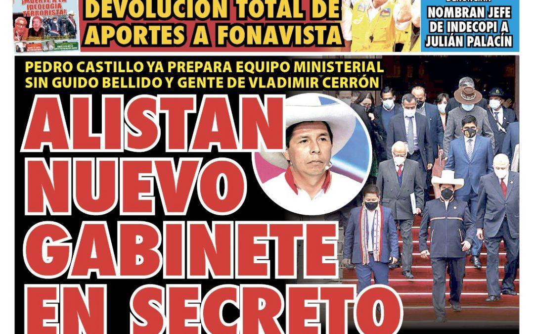Portada impresa – Diario La Razón (14/09/2021)