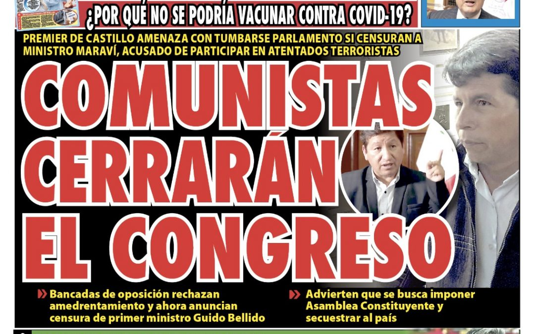 Portada impresa – Diario La Razón (30/09/2021)