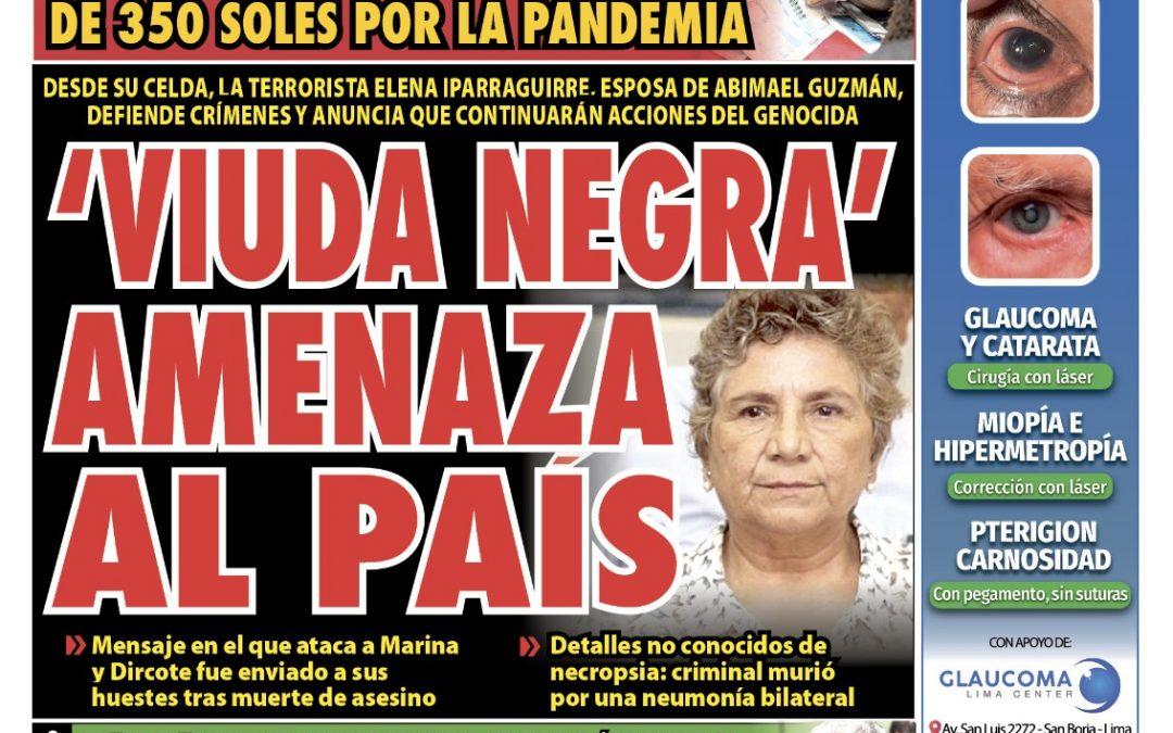 Portada impresa – Diario La Razón (13/09/2021)