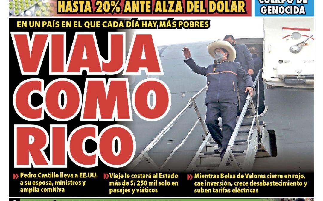 Portada impresa – Diario La Razón (17/09/2021)
