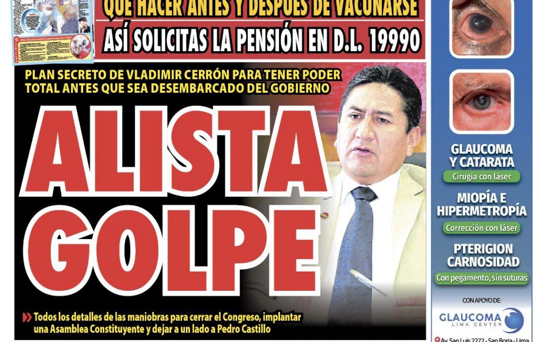 Portada impresa – Diario La Razón (20/09/2021)