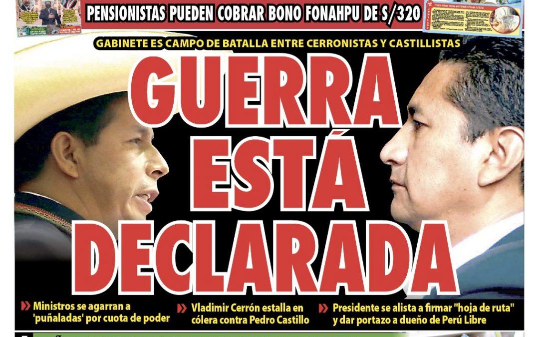 Portada impresa – Diario La Razón (22/09/2021)