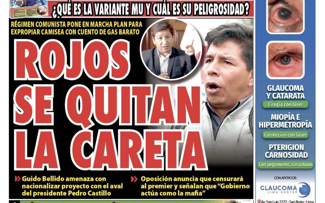 Portada impresa – Diario La Razón (27/09/2021)