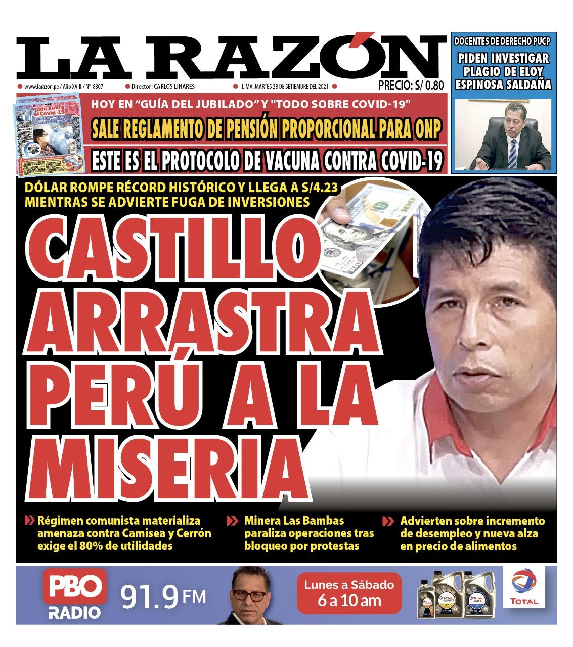 Portada impresa – Diario La Razón (28/09/2021)