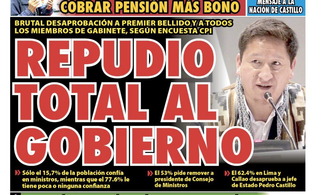 Portada impresa – Diario La Razón (07/09/2021)